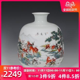 Jingdezhen famille rose porcelain Zhang Bingxiang celebrity works pomegranate honour the deer modern antique vase handicraft