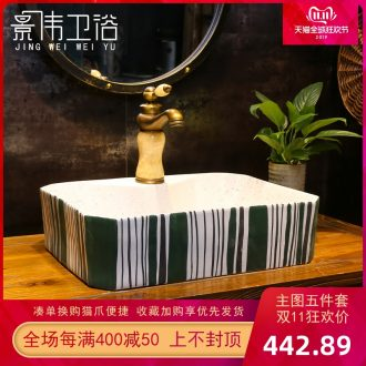 American retro stage basin art ceramic lavatory frosted lines basin basin on the sink