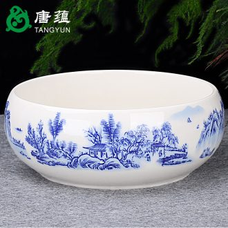 Tang, the accumulate large ceramic tea wash to household with cover water to wash the trumpet writing brush washer from violet arenaceous heavy water jar kung fu tea accessories