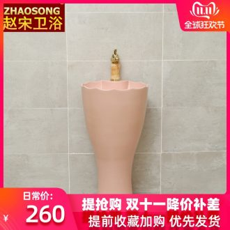 Northern wind of song dynasty porcelain column basin one - piece household lavabo floor type lavatory sink is suing