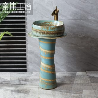 JingWeiLiu glaze colorful column basin creative ceramic column type lavatory floor sink basin of restoring ancient ways