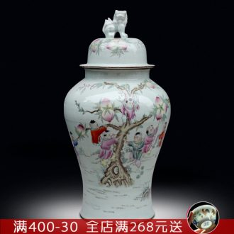 Jingdezhen famille rose porcelain vase of large household figures sitting room the lad figure general tank opening gifts furnishing articles
