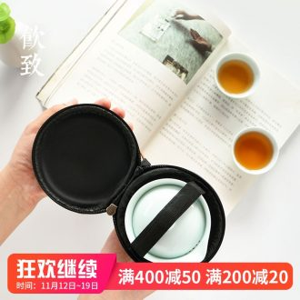 Ultimately responds to shadow celadon travel tea set a pot of two cups of portable package mini ceramic kunfu tea with crack cup