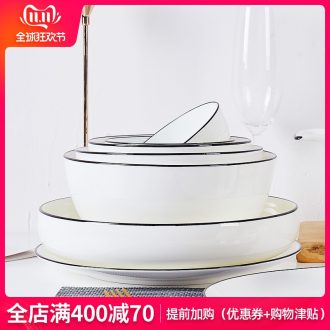 Jingdezhen ceramic tableware bowl dish suits for Japanese dishes manual stroke northern wind creative ceramic dinner plate
