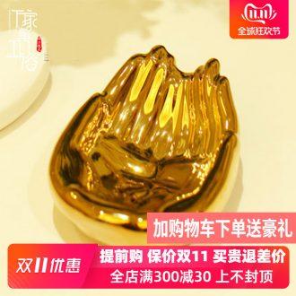 Jingdezhen ceramic art soap box of toilet soap dish place gold bergamot lotus 3977-41 c