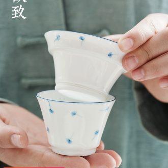 Ultimately responds to jingdezhen creative hand - made of blue and white porcelain tea filter) glass ceramic filter base kung fu tea set