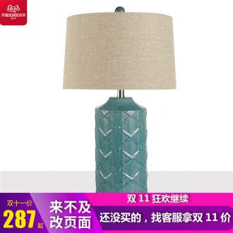 American Chinese modern light key-2 luxury lamp lamp European - style originality of bedroom the head of a bed lamp sitting room ceramic study contracted marriage
