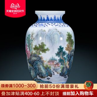 The Master of jingdezhen ceramics hand - made pastel landscapes of blue and white porcelain vases, new Chinese style living room decorations furnishing articles