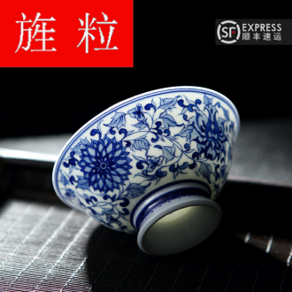 Continuous up with jingdezhen ceramic grain green was hand - made antique porcelain sample tea cup cup single cup tea cups, master