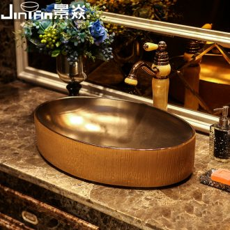 JingYan brown gold wood art stage basin industrial ceramic lavatory wind restoring ancient ways is the sink Chinese basin on stage