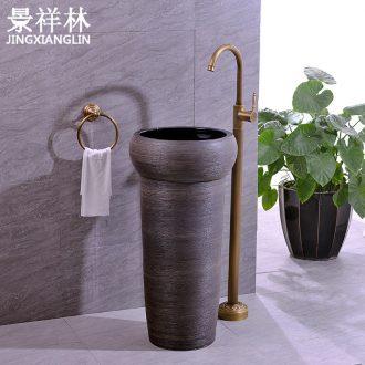 Ceramic basin of pillar type lavatory floor toilet pillar one - piece balcony column basin sinks