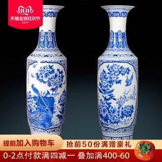 Blue and white porcelain of jingdezhen ceramics hand - made peony of large vases, Chinese style living room decoration villa furnishing articles