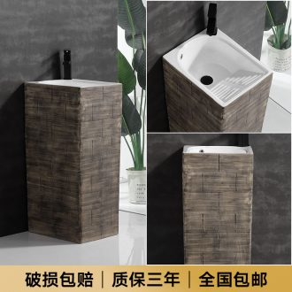 The balcony floor type lavatory pillar ceramic wash face basin sink pool basin home of small family toilet
