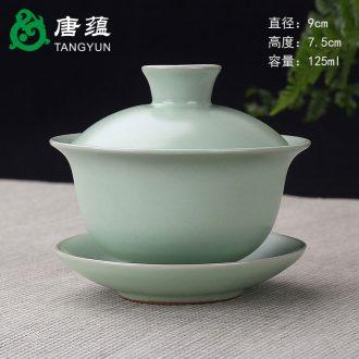 Tang aggregates retro blue tureen large cups hand - made single three ceramic kung fu tea tea bowl white porcelain