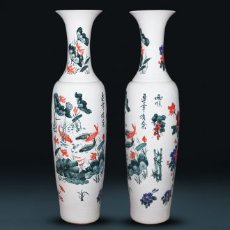 Jingdezhen ceramics hand - made landing big vase 1 m 6 Chinese style living room hotel villa furnishing articles housewarming gift