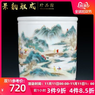 Jingdezhen ceramic vase brush pot of new Chinese style decoration pen pen container handicraft furnishing articles home study office
