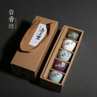 YanXiang lane five ancient jun silver cups, ceramic kung fu tea sets your up sample tea cup