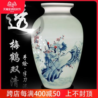 Jingdezhen ceramics hand - made vases MeiHe double flower arranging clearer Chinese style home sitting room adornment is placed a gift