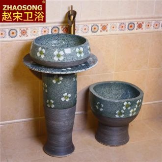 Chinese pillar landing one lavatory household bathroom sink ceramic basin is suing courtyard garden