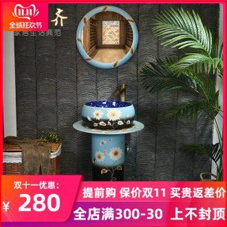 Ceramic sinks one pillar pillar lavabo balcony art basin home floor toilet basin