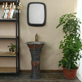 Basin of Chinese style lavabo floor pillar one Basin balcony ceramic Basin of pillar type lavatory toilet column