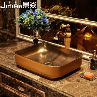 JingYan brown metal glaze art stage basin rectangle ceramic lavatory basin restoring ancient ways is archaize sink basin