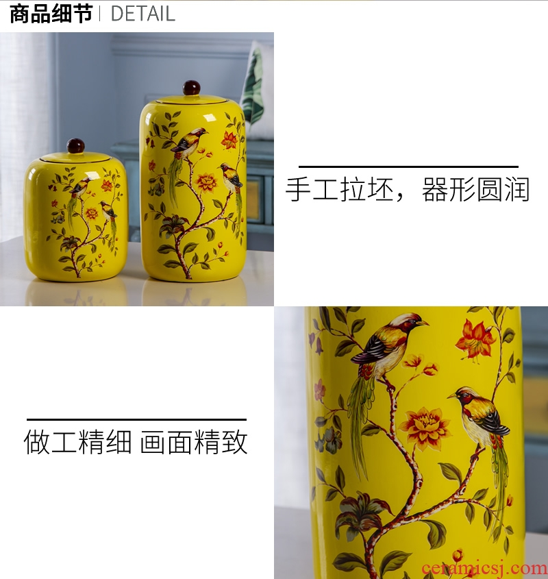 Jingdezhen ceramic vase furnishing articles American sitting room dry flower arranging flowers yellow storage jar jar with cover soft decoration