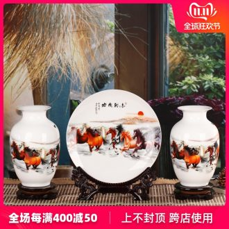I and contracted jingdezhen ceramics vase three - piece sitting room home furnishing articles the opened a housewarming gift