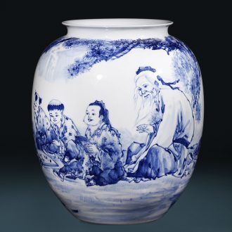 """Master of jingdezhen ceramics hand - made """"outnumbered"""" blue and white porcelain vase in the living room home furnishing articles"""