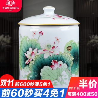 Jingdezhen ceramics famille rose porcelain vase home sitting room adornment furnishing articles of handicraft fragrant lotus classical caddy fixings