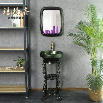 Ceramic light pillar type lavatory European - style key-2 luxury creative floor sink basin metal glaze one pillar basin