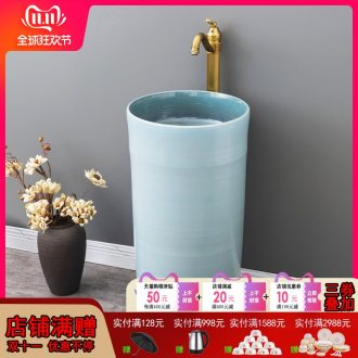 Ceramic column type lavatory basin of I and contracted floor one column family of small family toilet lavabo