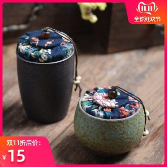 Bo yao caddy fixings small mini tea packaging can be customized glass coarse pottery retro ceramic seal pot