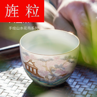 Continuous grain of pure manual master cup of jingdezhen ceramic household kung fu tea cup single hand - made sample tea cup white porcelain cup