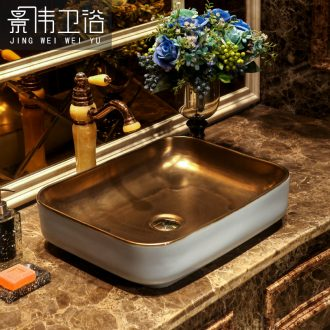 The Metal glaze art stage basin rectangle ceramic lavatory the Nordic idea to restore ancient ways the basin that wash a face to the sink