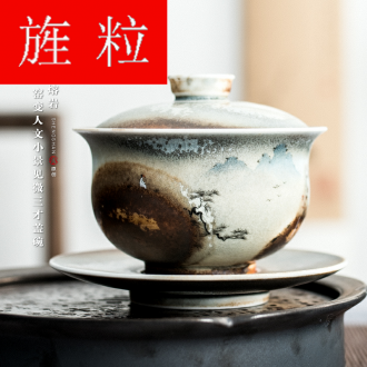 Continuous grain of wood up change hand - made humanities kei chan tureen jingdezhen kung fu tea set three to make tea tureen ceramic bowl