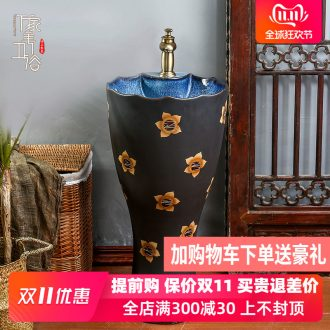 Retro pillar basin of archaize floor ceramic lavatory toilet lavabo courtyard sink is suing