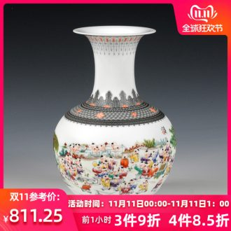 Jingdezhen ceramic vase hand - made pastel the ancient philosophers figure vase modern Chinese style style living room decoration arts and crafts