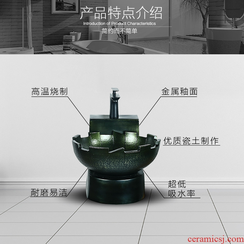 Hang a wall lavatory balcony hanging metal glaze ceramic lavabo small family art basin bathroom sink