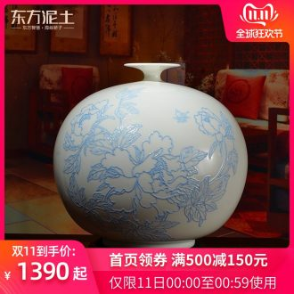 Oriental soil new Chinese hand - made white porcelain vase furnishing articles home sitting room adornment flower arrangement/blooming flowers