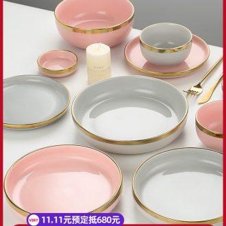Nordic light up phnom penh key-2 luxury dishes suit household web celebrity ins jingdezhen ceramics tableware suit bowl dish u.s but h