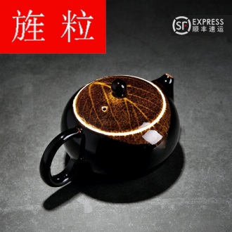 Continuous up with jingdezhen ceramic grain green was konoha temmoku light household teapot manual kung fu tea set the teapot