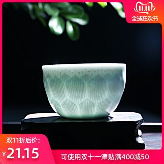 Hong bo the best kung fu celadon shadow the qing Yin carving knife clay pottery master kung fu tea cup sample tea cup
