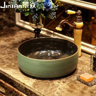 JingYan green curve art stage basin ancient ceramic lavatory toilet lavabo circular basin on stage