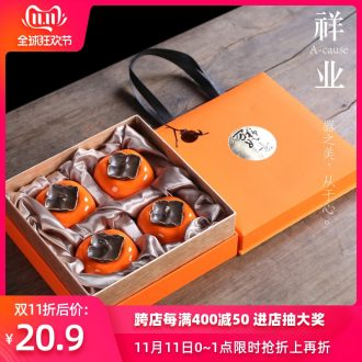 Auspicious industry persimmon creative caddy fixings household ceramics seal storage POTS small POTS logo gifts custom