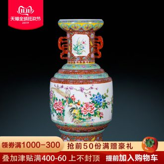 Jingdezhen ceramics archaize ears famille rose porcelain craft of large vases, classical Chinese style living room furnishing articles
