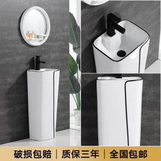One - piece pillar basin ceramic lavatory basin bathroom toilet is suing balcony ground column vertical counters