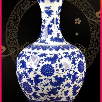 Jingdezhen ceramic furnishing articles antique blue - and - white bound branch lotus bottles of Chinese style porch sitting room TV ark adornment arranging flowers