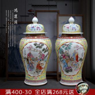 Jingdezhen ceramic general hand - made figure painting of large vase 18 Luo Hantu tank sitting room temple furnishing articles