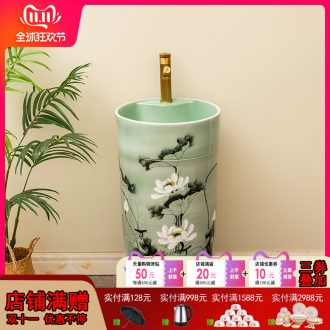 Chinese lotus ceramic one pillar type lavatory floor is suing garden sinks balcony sink